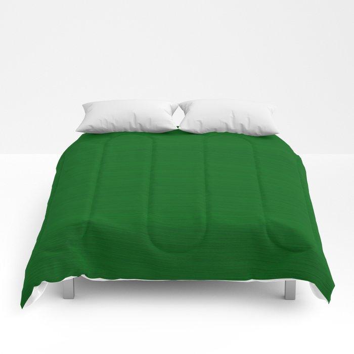 Emerald Green Brush Texture - Solid Color Comforters