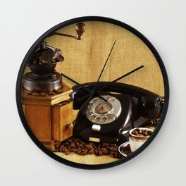 Coffee grinder Coffee cup Phone Image Wall Clock