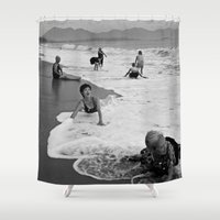 vietnam Shower Curtains featuring Bathing Woman in Vietnam - analog  by CAPTAINSILVA