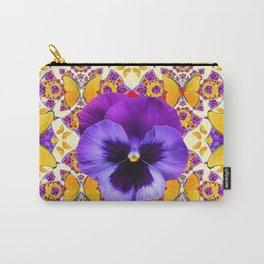 RED PURPLE PANSIES & GOLD  BUTTERFLIES ART Carry-All Pouch