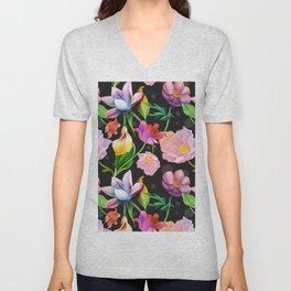 Bold & Bright Colored Tropical Flowers on Black Background Unisex V-Neck