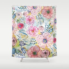 Watercolor hand paint floral design Shower Curtain