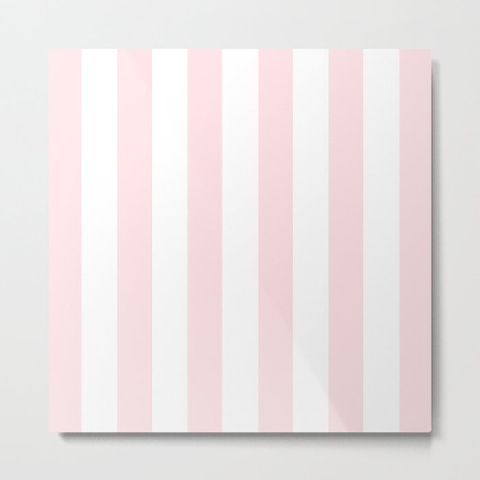Simply Vertical Stripes Flamingo Pink on White Metal Print