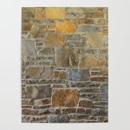 Avondale Brown Stone Wall and Mortar Texture Photography Poster