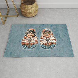 Sailor and his lady (russian dolls) Rug