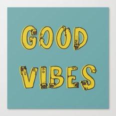 Good Vibes Pugs Canvas Print