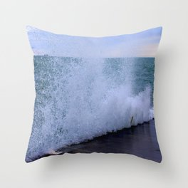 Lake Michigan Natural Fountains #1 (Chicago Waves Collection) Throw Pillow