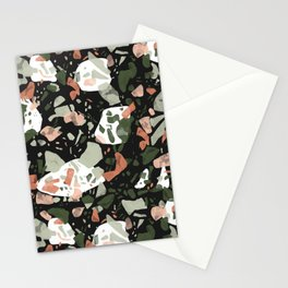 Abstract forms of dark terrazzo Stationery Cards