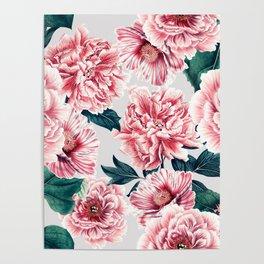 Pattern pink vintage peonies Poster