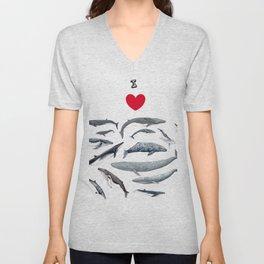 I love whales design Unisex V-Neck