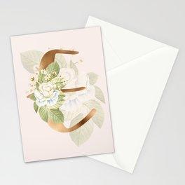 Gold Vintage Rose E Letter Stationery Cards