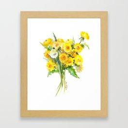 Dandelion Flowers, Herbal, herbs, field flowers, yellow floral design Framed Art Print