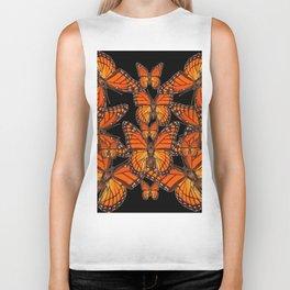 Monarch Butterflies Migration Black Pattern Art Biker Tank
