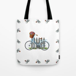 Vintage bicycle with basket full of violets flowers Tote Bag