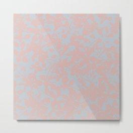 Soft Pink & Gray Floral Silhouette Pattern - Broken but Flourishing Metal Print