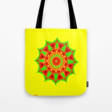 Lovely Healing Mandalas in Brilliant Colors: Red, Yellow, and Green Tote Bag