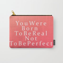 Modern Coral Peach White Inspirational Quote Carry-All Pouch