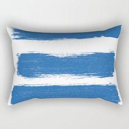 Modern white blue pastel brushstrokes stripes Rectangular Pillow