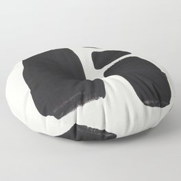 Mid Century Modern Minimalist Abstract Art Brush Strokes Black & White Ink Art Square Shapes Floor Pillow