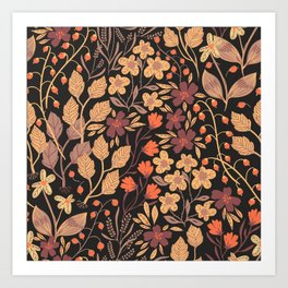 Autumn Brown and Orange Ditsy Floral Leaves and Flowers Art Print