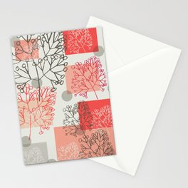 Branches grey graphic retro Stationery Cards