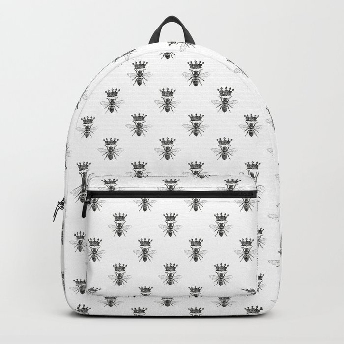 Queen Bee   Vintage Bee with Crown   Black and White   Rucksack