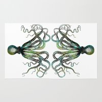 octopus Area & Throw Rugs featuring Octopus by LebensART