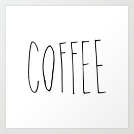 Coffee - Black hand lettering Art Print
