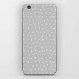 Light grey background with white minimal hand drawn ring pattern iPhone Skin