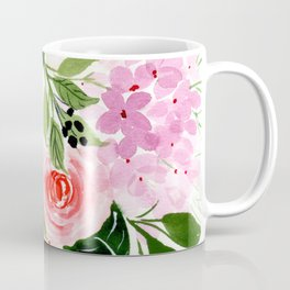 Pink and Red Roses Loose Floral Bouquet Coffee Mug