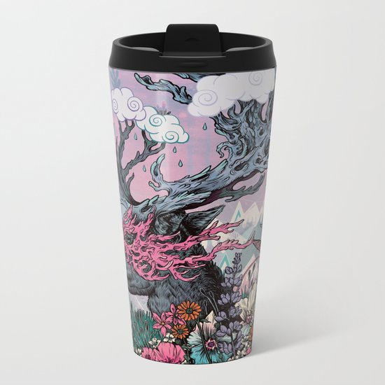 Journeying Spirit (deer) sunset Metal Travel Mug
