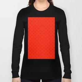 Crimson Red on Scarlet Red Stars Long Sleeve T-shirt