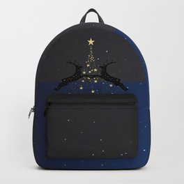 Champagne Gold Star Christmas Tree with Magical Reindeers | Dreamy Blue Backpack