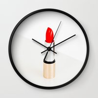 lipstick Wall Clocks featuring lipstick by Beau Colin