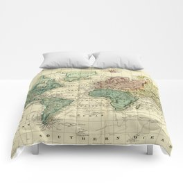 Vintage Map of The World (1823) Comforters