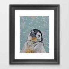 Baby Penguin Snowflakes Framed Art Print