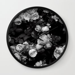 Roses are black and white Wall Clock