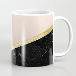 Mint, Blush, White, Black Marble and Gold Stripes Glam #1 #minimal #decor #art #society6 Coffee Mug