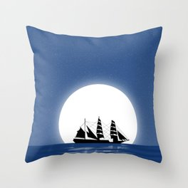 Sailing with Full Moon and Shooting Star Throw Pillow