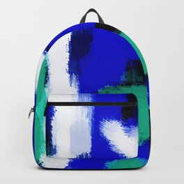blue green and white painting texture with black background Backpack