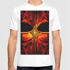 Abstract.Red Flame. MEDIUM White Mens Fitted Tee