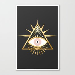 gold foil triangle evil eye Canvas Print