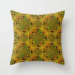 Brown and green circles Throw Pillow
