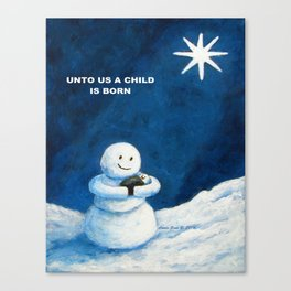 Until Us A Child Is Born  Snowmen Painting By Annie Zeno Canvas Print