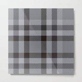 Grey Plaid Tartan Checkered Pattern Metal Print