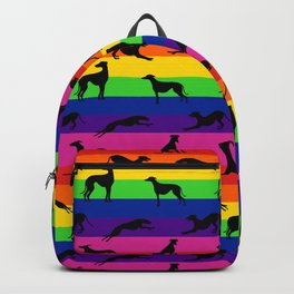 Greyhound Silhouettes on Horizontal Rainbow Stripes Backpack