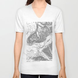 NORTH BEND WA TOPO MAP - LIGHT Unisex V-Neck
