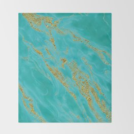 Luxury and glamorous gold glitter on aqua Sea marble Throw Blanket