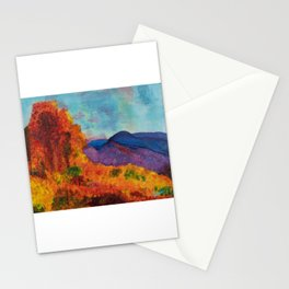 Impressionist Mountain Landscape in Autumn Stationery Cards