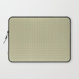 Cream on Earthy Green Parable to 2020 Color of the Year Back to Nature Polka Dot Grid Pattern Laptop Sleeve